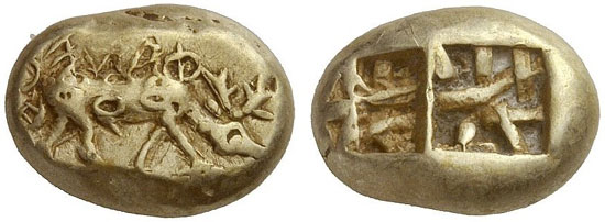 253 – Phanes (Ephesos / Ionia). Electrum trite, Milesian standard. Extremely rare. Extremely fine. From Rosen Collection, New York. Starting price: 24,000 euros. / Hammer price: 55,000 euros.