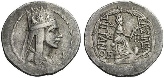 300 – Tigranes II. Tetradrachm, Antiochia. Nercessian pl. 74 / A65-P8b (Av same die). Starting price: 900 euros. Hammer price: 6,500 euros.