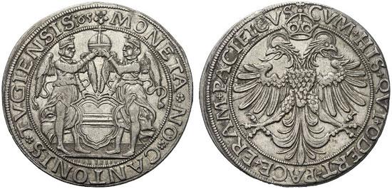990 – Zug. Engelthaler 1565. Dav. 8770. Extremely fine. Starting price: 6,000 euros. Hammer price: 12,000 euros.