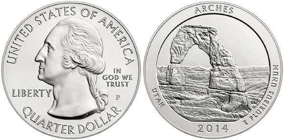 Arches National Park Silver Coin