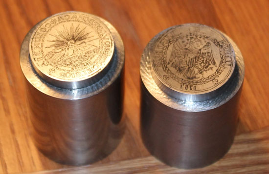 A drawing of the Brasher Doubloon novodel design was placed on each die prior to engraving by Ron Landis. Photo: Ron Landis