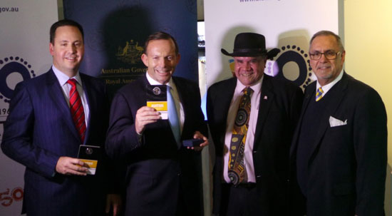 Australia's Parliamentary Secretary to the Treasurer the Honourable Mr Steven Ciobo MP, the Prime Minister of Australia, Tony Abbott MP along with AIATSIS Chairperson Professor Mick Dodson and AIATSIS Principal Russ Taylor at the launch of the AIATSIS 50 cent coin.