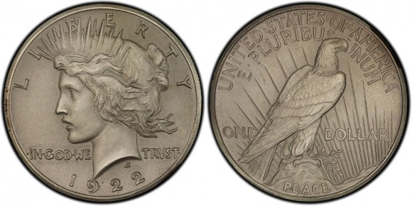 1922 High Relief Peace Dollar