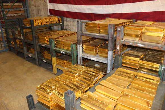 Some of the 1,432,492.891 oz of gold within a storage compartment at the West Point Mint with a value of $1,888,455,378,20.