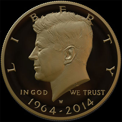 1964-2014 Gold Kennedy Half Dollar