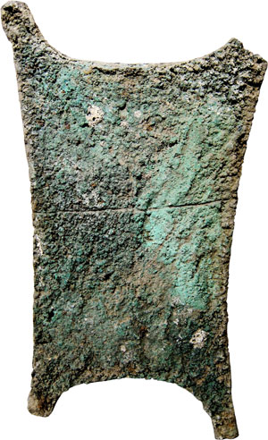 Lot 1: PRE-MONETARY MONEY. Ingot in the shape of an ox hide, c. 1600-1000 B. C. (72 x 39.5cm). 26.66kg. Green patina, scratches on obv., one edge is cracked. Estimate: 25,000,- euros