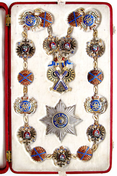 Lot 1121: RUSSIA. Imperial Order of St. Andrew the Apostle the First-Called. Collar set consisting of collar, jewel and breast star. RRU 1, 2 and 3. Extremely rare. I-II Estimate: 750,000,- euros
