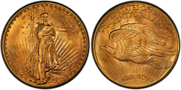 Formerly in the Bentley Collection, this 1927-D Double Eagle, PCGS MS63, now is part of The A&A Saints Collection.  (Photo by PCGS.)