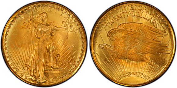 The finest known 1932 Saint-Gaudens Double Eagle, PCGS MS66+, is one of the highlights of The A&A Saints Collection. (Photo by PCGS.)