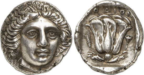 Lot 252: RHODES (Carian Islands). Tetradrachm, c. 404-385. Extremely fine. Estimate: 15,000,- euros