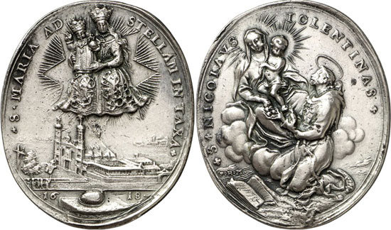 Lot 3189: JAGGI COLLECTION. Taxa, Cloister of Maria Stern. Religious medal, cast silver, upright oval, by P. H. M. Müller (Augsburg), 17th/18th cent. 38 x 33mm. Very fine. Estimate: 150,- euros