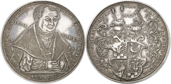 Lot 3287: HENNEBERG. William VI (1492-1559). Presentation coin in the weight of 3 thaler 1557 (coinage from later times, presumably from the 16th or the 17th cent.). Heus p. 187, fig. 107. Single known specimen of this weight. About extremely fine. Estimate: 5,000,- euros