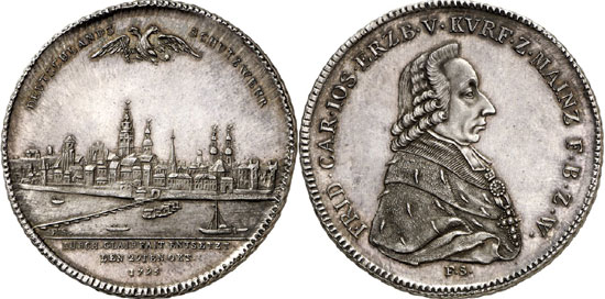 Lot 3736: COLLECTION OF A NUMISNAUTIC. Mainz, Archbishopric. Friedrich Karl Josef von Erthal, 1774-1802. Konventionsthaler 1795, Mainz. Ex Peus 404-405 (2011), lot 796. Extremely rare. Proof. Estimate: 15,000,- euros