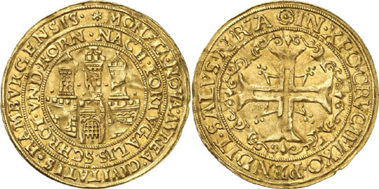 Lot 4282: HAMBURG, city. 1/4 portugalöser of 2 1/2 ducats n. d. Extremely rare. Extremely fine. Estimate: 20,000,- euros