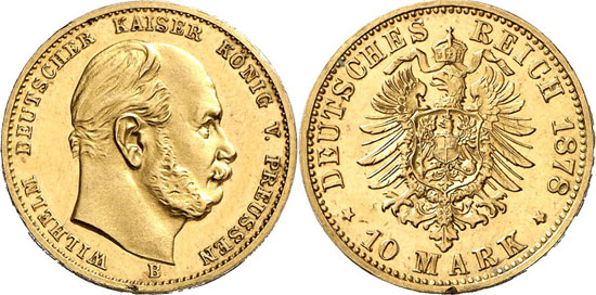 Lot 7397: IMPERIAL COINAGE. Prussia. William I (1861-1888). 10 mark 1878 B. J. 245. Extremely fine to uncirculated. Estimate: 50,000,- euros