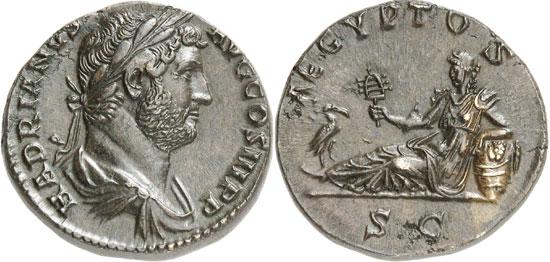 Lot 8522: HADRIAN (117-138). As, 134-138. Rev. Aegyptus. RIC 839. Ex Leu 48 (1989), 346. Extremely fine. Estimate: 4,000,- euros