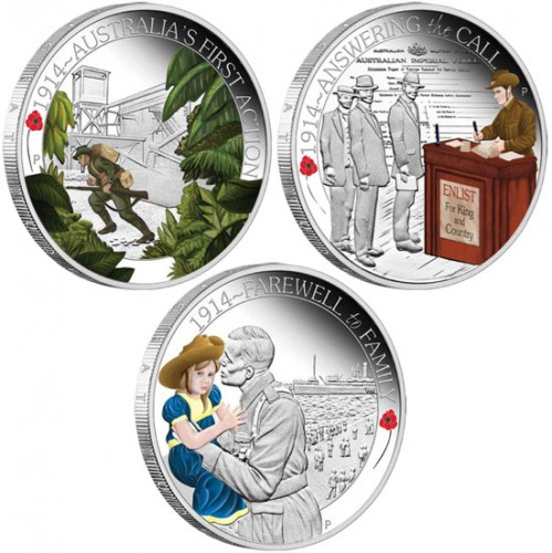 ANZAC Spirit 100th Anniversary Coin Series 2014 1/2oz Silver Proof Three-Coin Set