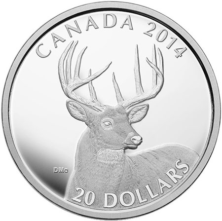 2014 White Tailed Deer Silver Coin
