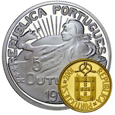 Portugal 100th Anniversary Eccentric Bimetallic Gold and Silver Coin