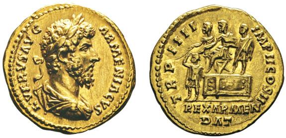 No. 188: LUCIUS VERUS, 161-169. Aureus, 161. RIC 511. Ex Titano 1979, 186. Extremely fine. Estimate: 6,000,- euros