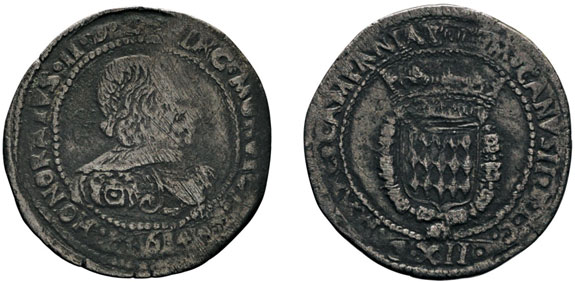 No. 311: MONACO. Honoré II, 1604-1662. 12 gros or fiorino, 1640. Gadoury 6. Extremely rare. About very fine. Estimate: 5,000,- euros
