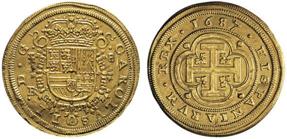 No. 408: SPAIN. Charles II, 1665-1700. 8 escudos, Segovia, BR, 1687/3. Cal. 37. Very rare. Very fine. Estimate: 8,000,- euros