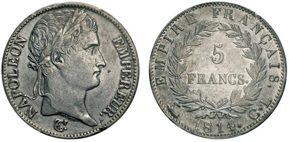 No. 520: ITALY. Département de Gênes, 1805-1814. 5 francs, Genoa, 1814CL. Gadoury 584. Very rare. PCGS XF40. Estimate: 20,000,- euros