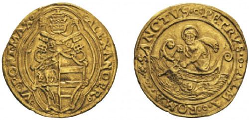 No. 708: ITALY. Vatican. Alexander VI, 1492-1503. Double florin, Rome, undated. CNI 5. Very rare. Very fine. Estimate: 2,000,- euros