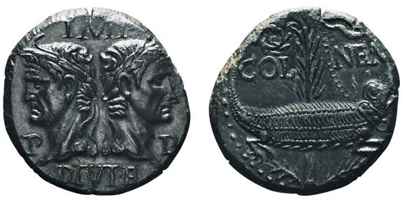 No. 71: AUGUSTUS, 27 B. C. – A. D. 14. Dupondius, Nemausus (Nimes), 10-14. RIC 158. RPC 524. Ex Lanz 145, 50. Extremely fine. Estimate: 2,500,- euros