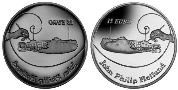 Image of the original die and the proof quality coin produced, courtesy of the Pobjoy Mint.