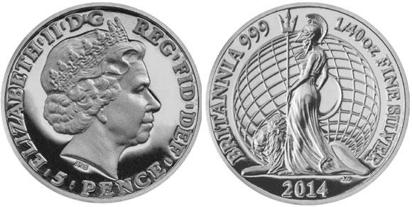 2014 Britannia Fortieth Ounce Silver Coin