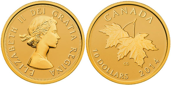 Gold Maple Leaf and Monarch Coin
