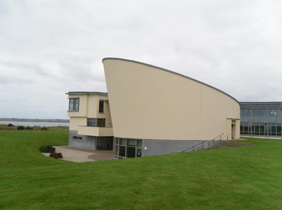 The Marine Institute's distinctive and award-winning auditorium which faces the Bay of Galway. The Institute's main hall was the setting for the launch of the Central Bank's latest coin.