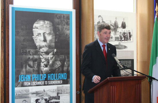 CEO Dr. Peter Heffernan opens the launch by speaking of the contributions made by John Philip Holland and the how invention of the modern submarine changed naval tactics internationally.