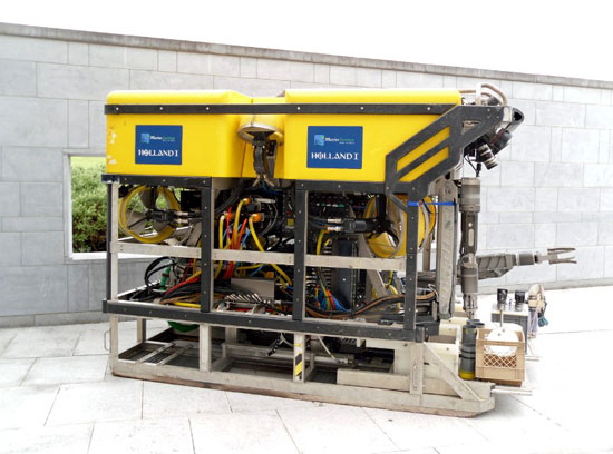 """The """"Holland I"""" remotely operated vehicle named in honor of the inventor of the modern submarine was put on display especially for the launch of the John Philip Holland collector coin issued by the Central Bank of Ireland."""