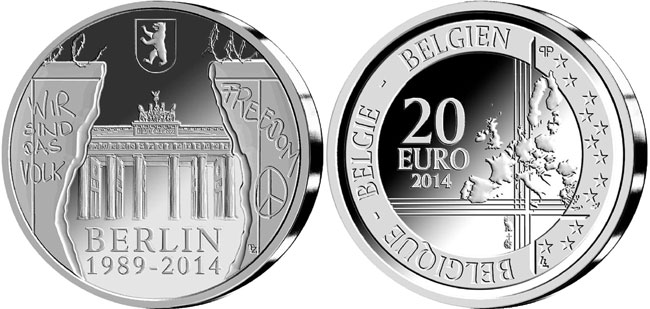 Belgium 25th Anniversary of the Fall of the Berlin Wall 20 Euro Silver Coin