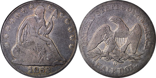 1853-O No Arrows Half Dollars