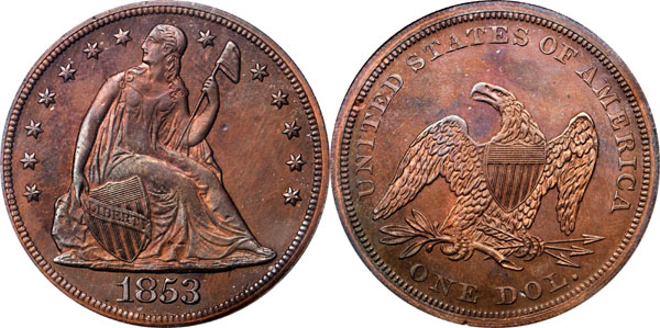 1853 Pattern Liberty Seated Silver Dollar
