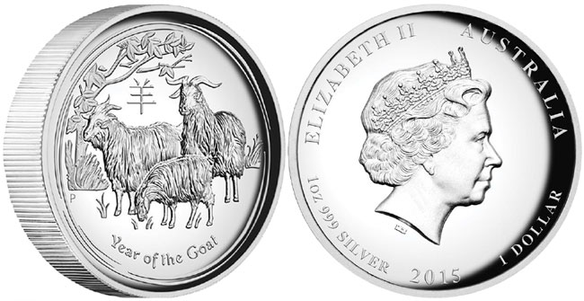 2015 High Relief Year of the Goat Silver Proof Coin