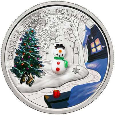 Silver & Venetian Glass Snowman coin
