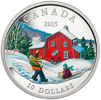 proof & color tobogganing  silver coin