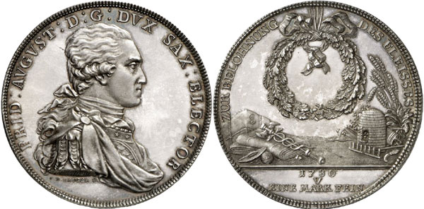 Lot 183: COLLECTION HORN - SAXONY. Frederick August III (I), 1763-1806-1827. Double konventionsthaler 1780, Dresden, reward of diligence. Dav. 2694. Schnee 1084. Only 20 specimens struck. First strike, brilliant uncirculated. Estimate: 20,000,- euros