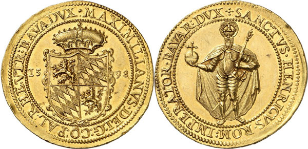 Lot 266: GERMANY - BAVARIA. Maximilian I, 1598-1651. 8 ducats 1598, Munich, on his homage. Witt. 775 note. Very rare. Extremely fine. Estimate: 50,000,- euros