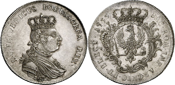 Lot 34: HORN COLLECTION - PRUSSIA. Frederick II, 1740-1786. Speciesthaler 1755, without mintmark, Berlin. Kluge 318. Old. 369. Extremely rare. First strike, about brilliant uncirculated. Estimate: 40,000,- euros