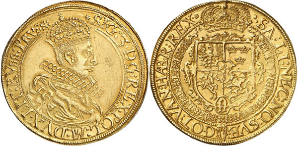 Lot 665: POLAND - KINGDOM. Sigismund III, 1587-1632. 1/2 portugalöser of 5 ducats 1622, Vilnius for Lithuania. Kopicki 3562 (R7). Extremely rare. Extremely fine. Estimate: 80,000,- euros