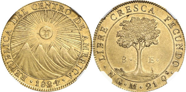 Lot 779: GUATEMALA. Federal Republic of Central America, 1823-1839. 8 escudos 1824 NG-M, Guatemala. Fb. 62. Graded MS 62 by NGC. Extremely rare. Extremely fine to brilliant uncirculated. Estimate: 60,000,- euros