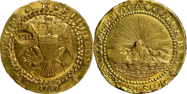 1787-dated gold Brasher Doubloon (Photo credit: Heritage Auctions.)