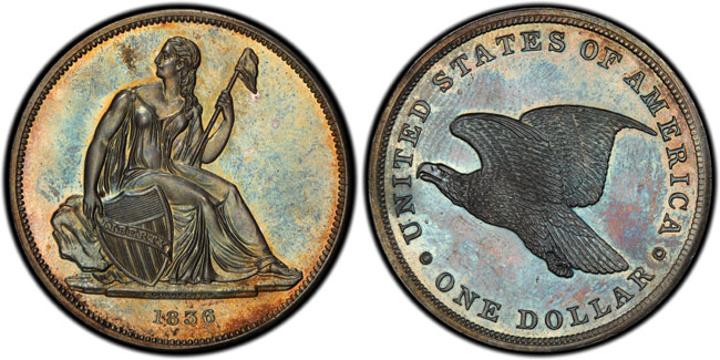 Tied for finest known, this 1836 Gobrecht Dollar pattern (J-65), PCGS PR65, is one of the highlights of the Simpson Collection you can see at the PCGS booth (#807) during the January 2015 Long Beach Expo.  (Photo credit: PCGS.)