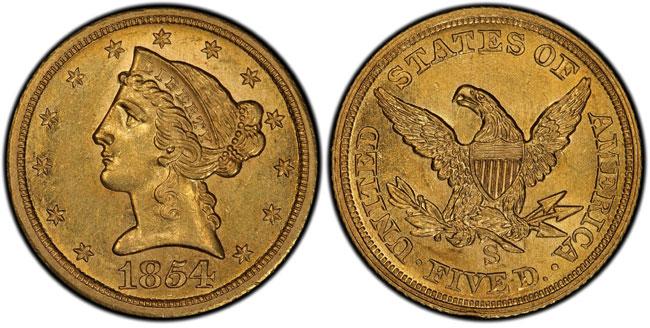 1854-S-$5-PCGS-AU58+