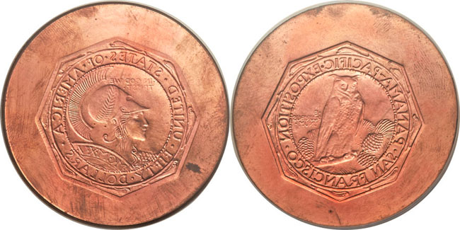 1915 Octagonal Panama-Pacific $50 Commemorative Copper Trial